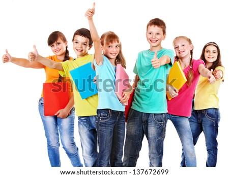 Group of teen school child.  Isolated. - stock photo