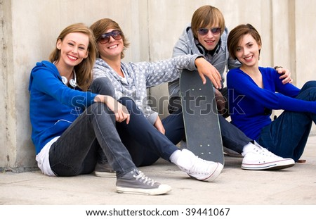 Group of teenage friends - stock photo