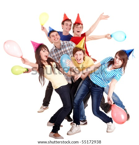 Group of teenage in party hat and balloon. Isolated. - stock photo
