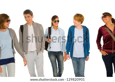 group of teenage students - stock photo