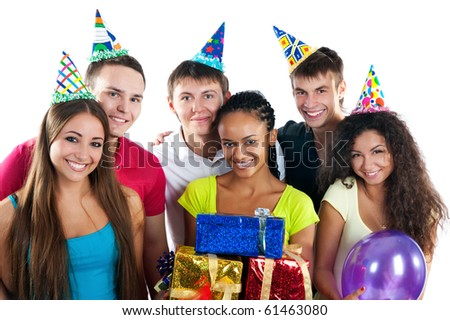 Group of teenagers celebrate birthday. Isolated - stock photo