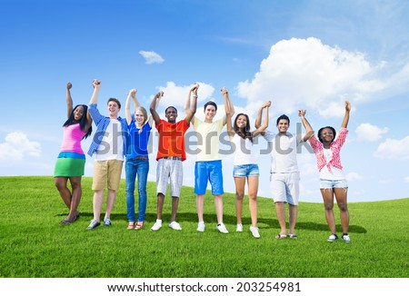 Group of teenagers having fun on the hills.