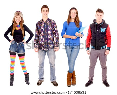 group of teenagers isolated in white - stock photo