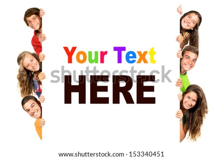 Group of teenagers with a white board isolated in white - stock photo