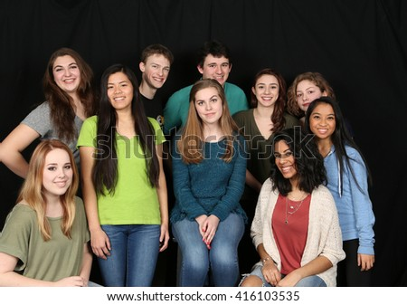 group of teens from different ethnic backgrounds - stock photo