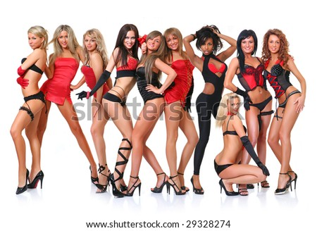 Group of ten beautiful young women poses in front of the chamber in full growth, isolated on a white background - stock photo