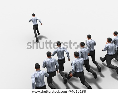 Group of the businessman runs on white background - stock photo