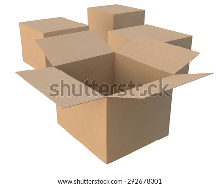 group of the closed cardboard boxes of the recycled paper, in the foreground the open - stock photo
