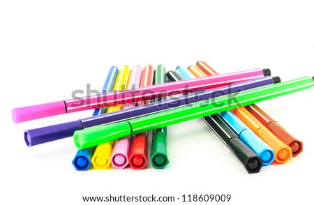 group of the colorful pen  isolated on white background - stock photo
