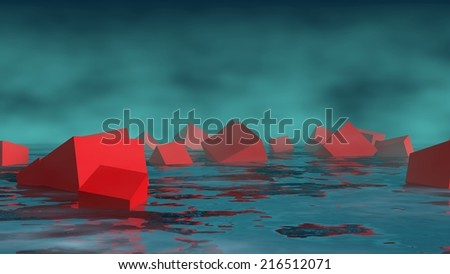 group of the cubes sunk in water - stock photo