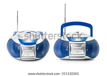 Group of the modern blue radio isolated on white background - stock photo