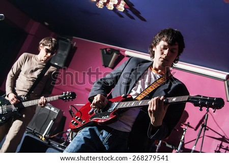 group of the music performers in club - stock photo