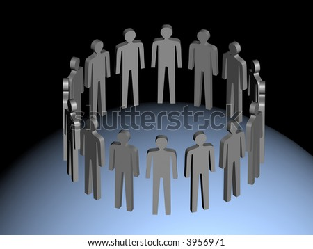 Group of the people incorporated by an overall aim. 3D an abstract illustration. - stock photo