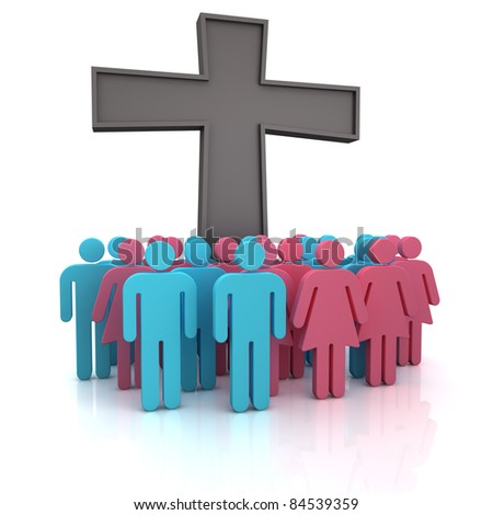 Group of the people standing at a christian cross - stock photo