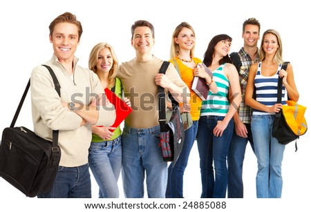 Group of the smiling  students. Over white background