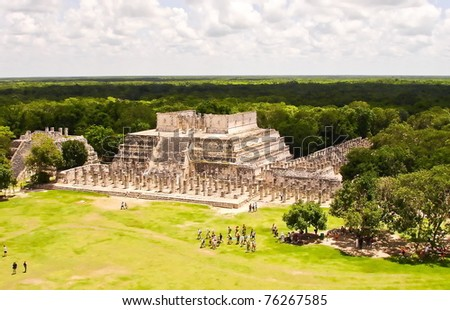 Group of the Thousand Columns at Chichen Itza in Mexico - stock photo