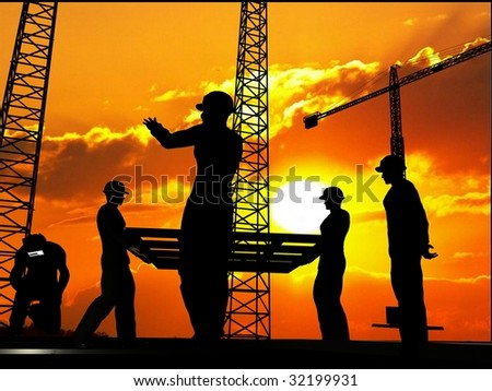 Group of the workers on a background of the sky