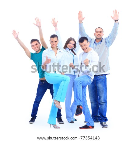 Group of the young smiling people. Over white background - stock photo