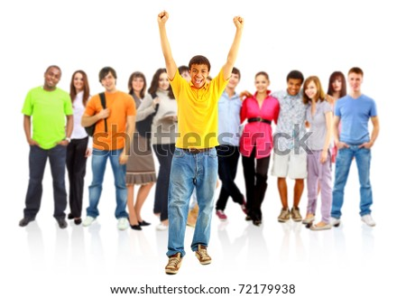 group of the young smiling students. Over white background - stock photo
