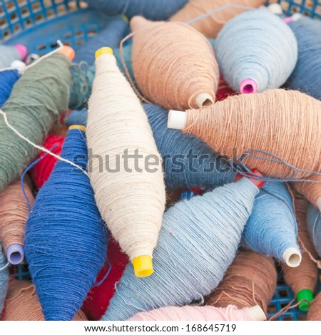 Group of thread on hand weaving cotton - stock photo