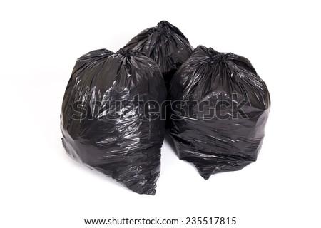 Group of three black bag of trash - stock photo