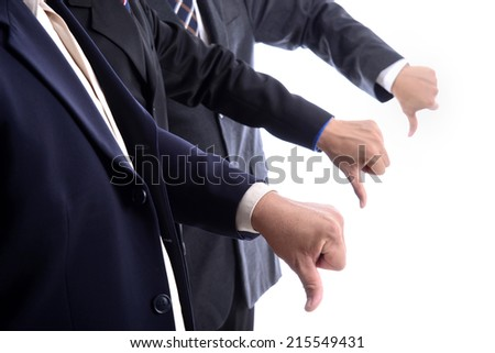Group of three business man show thumb down hand