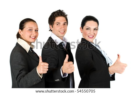 Group of three businesspeople with thumbs up concept of successful business isolated on white background - stock photo