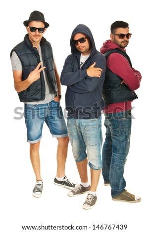 Group of three hip hop dancers with sunglasses isolated on white background