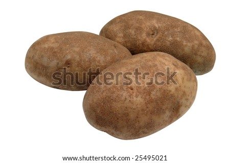 Group of three potatoes isolated on white background