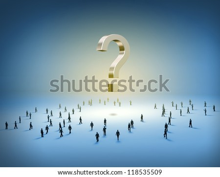 Group of tiny people walking towards a question mark - stock photo