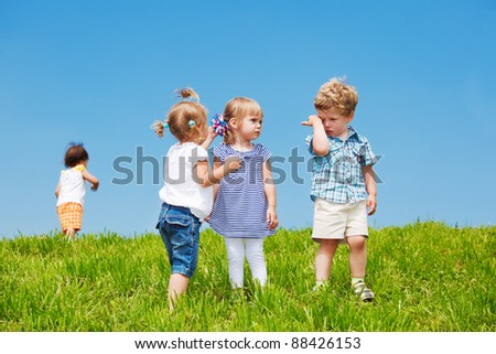 Group of toddlers in the outdoor - stock photo