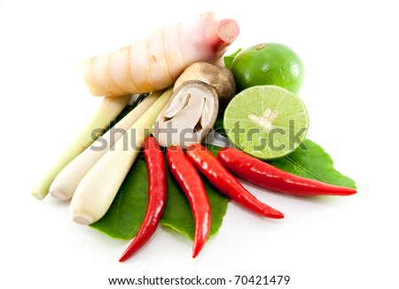 group of Tomyum(Thai food) seasoning ingredients - stock photo