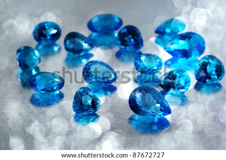 Group of topaz gemstones. - stock photo