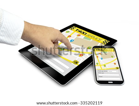 group of touchscreen devices with taxi app and a hand touching the screen isolated on white background. All screen graphics are made up - stock photo
