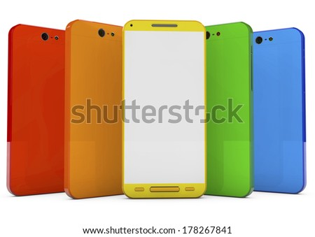 group of touchscreen smartphones with colorful interface and blank screen, 3d image. - stock photo