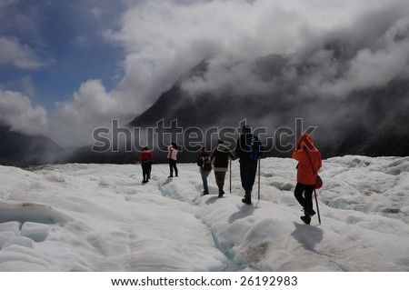 "Group of touring at Fox Glacier - South Island ""New Zealand"" - stock photo"