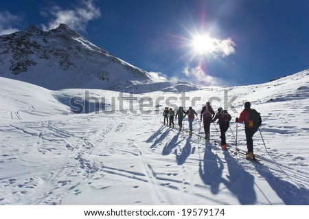 Group of touring skiers, the Alps, Valle d'Aosta, Italy - stock photo