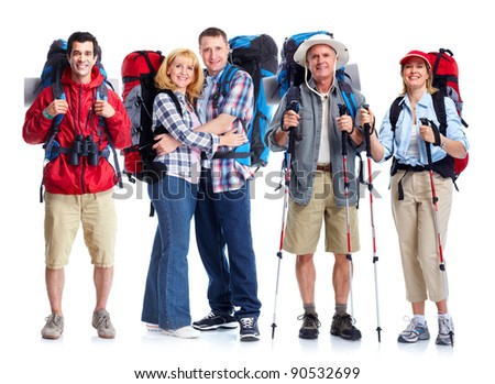 Group of tourists people. Isolated over white background. - stock photo