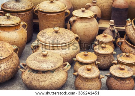 Group of traditional handmade pottery  - stock photo