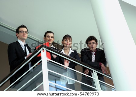 Group of trainees in suit - stock photo