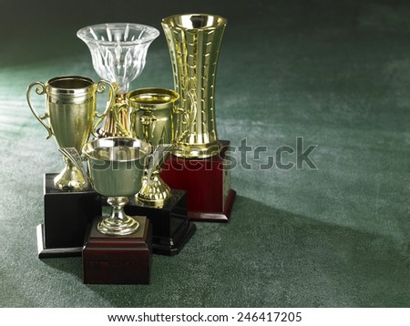 Group of trophy on the green background - stock photo