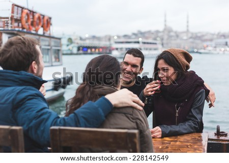 Group of Turkish Friends Drinking Cay, Traditional Tea - stock photo