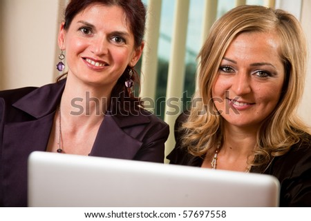 Group of two confident business women make a successful team