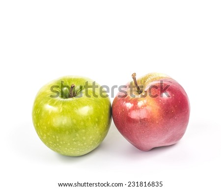 group of two different colors apples
