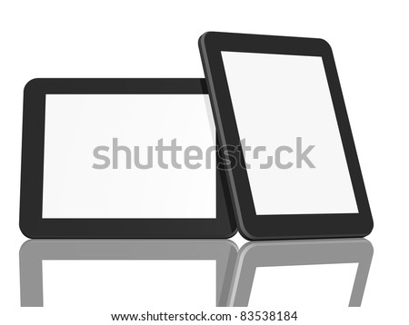 Group of Two Tablet Computers on white background - stock photo