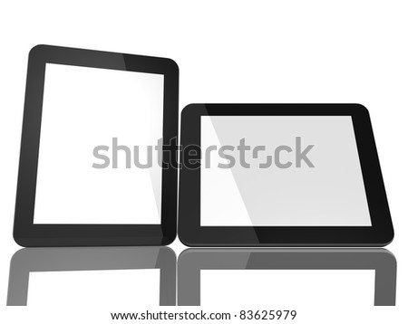 Group of Two Tablet Computers on white background