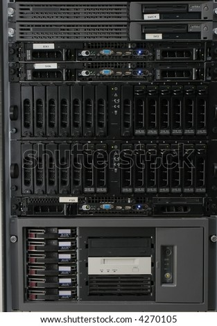 Group of typical rack mounted servers in a computer data centre, brands etc removed. - stock photo