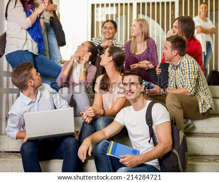 Group of university student together on break