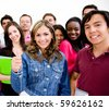 Group of university students smiling and holding notebooks - stock photo