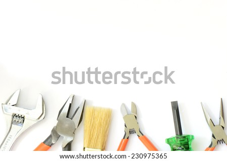 Group of used tools on white background. - stock photo